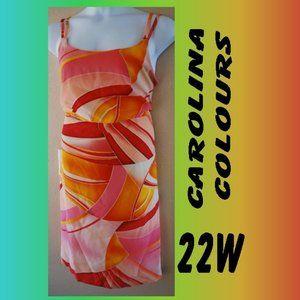 22W LADIES VIBRANT ORANGE SUMMER DRESS